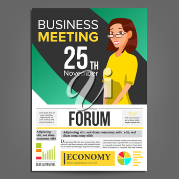 Business Meeting Poster Vector. Business Woman. Invitation For Conference, Forum, Brainstorming. Green, Yellow Cover Annual Report. Marketing, Sales E-commerce. Strategic Planning. Illustration