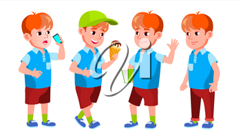 Boy Schoolboy Kid Poses Set Vector. Primary School Child. Beautiful Kid. Alphabet. Youth, Caucasian. For Card, Advertisement, Greeting Design. Isolated Cartoon Illustration