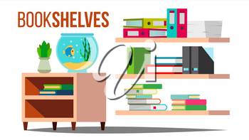 Storage Shelves Vector. Document, Book. Furniture. Office, Home Interior Paperwork Flat Isolated Illustration