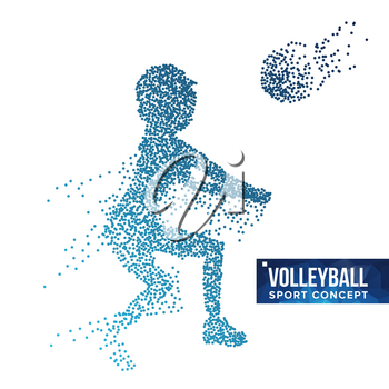 Volleyball Player Silhouette Vector. Grunge Halftone Dots. Dynamic Volleyball Athlete In Action. Dotted Particles. Sport Banner, Game, Event Concept. Isolated Illustration