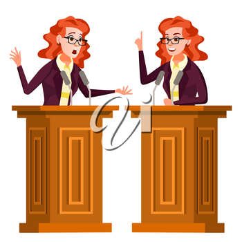 Speaker Woman Vector. Business Woman, Politician Giving Speech. Rostrum. Candidate. Isolated Flat Cartoon Character Illustration