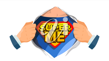 Super Me Sign Vector. Isolated Cartoon Comic Illustration