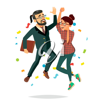 Business Couple Jumping Vector. Man And Woman. Entrepreneurship, Accomplishment. Best Worker, Achiever. Modern Office Employee, Manager Celebrating Success. Isolated Cartoon Character Illustration
