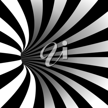 Spiral Vortex Vector. Illusion Swirl. Tunnel Hole Effect. Movement Executed In The Form. Psychedelic Effect. Geometric Background Illustration