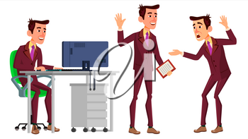 Office Worker Vector. Face Emotions, Various Gestures. Businessman Human. Modern Cabinet Employee, Workman, Laborer. Isolated Flat Cartoon Character Illustration