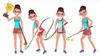 Young Woman Field Hockey Player Vector. Grass Hockey Game. Girl. Flat Cartoon Illustration