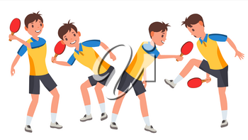 Table Tennis Young Man Player Vector. Man. Sports Concept. Stylized Player. Flat Athlete Cartoon Illustration