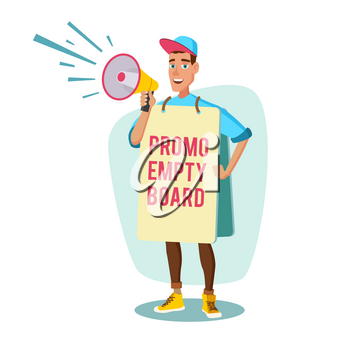 Retail Sales Industry Promoters Vector. Person Standing With Blank Advertising Poster. Expressing Active Position For Rights. Man Holding Empty Board. Cartoon Character Illustration