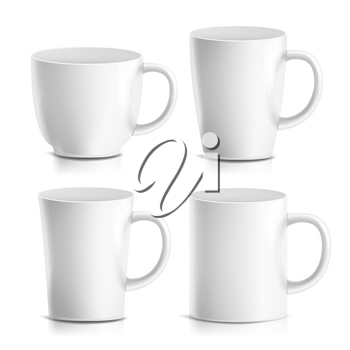 White Mug Vector. 3D Realistic Ceramic Coffee, Tea Cup Isolated On White. Classic Office Cup Mock Up With Handle Illustration. Good For Business Branding, Corporate Identity