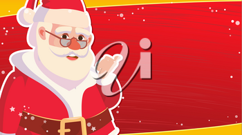 Big Christmas Sale Banner Template With Happy Santa Claus. Vector. Holidays Sale Announcement. Business Advertising Illustration