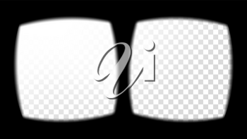 Virtual Reality Glasses Sight View Vector. Stereoscopic Screen Frame Template. Technology Design 3D VR Concept For Web, Graphic Design. Soft Edges. Transparent Background Illustration