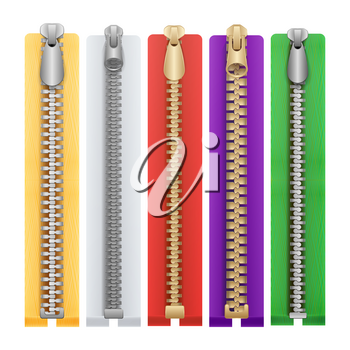 Zipper Realistic Vector. Connection Zippers Isolated Illustration