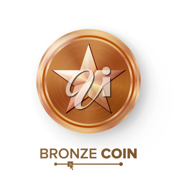 Game Bronze Coin Vector With Star. Realistic Bronze Achievement Icon Illustration. For Web, Video Game