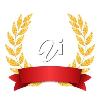 Gold Laurel Vector. Set Shine Wreath Award Design. Red Ribbon. Place For Text.
