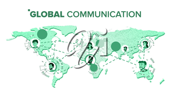 Global Communication Vector. People On World Map. Teamwork Connection. Isolated Illustration