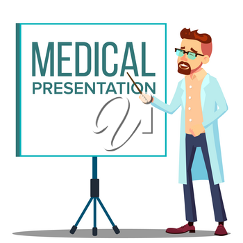 Doctor Man In White Coat Near Meeting Projector Screen, Medical Presentation Vector. Isolated Illustration