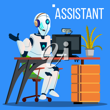 Answerphone, Robot With Headphones Answering The Phone Calls Vector. Illustration