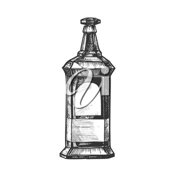 Rectangular Vintage Whisky Booze Bottle Vector. Design Sketch Bottle Of Collection Alcoholic Irish Drink. Template Monochrome Retro Glass Container With Blank Label and Style Cap Cartoon Illustration