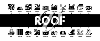 Roof Housetop Material Minimal Infographic Web Banner Vector. House Roof Waterproof And Temperature Heat Resistant Construction, Repair And Installation Illustration