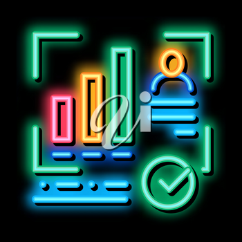 Good Working Employee Card neon light sign vector. Glowing bright icon Statistician Report Worker With Growth Graphic, Approved Mark sign. transparent symbol illustration