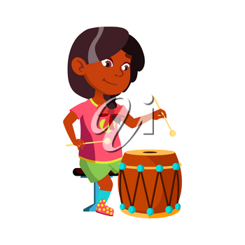Girl Kid Playing On Drum Musical Instrument Vector. Indian Little Lady Play Classic Music On Drum With Sticks. Character Sound Performer Practicing On Lesson Flat Cartoon Illustration