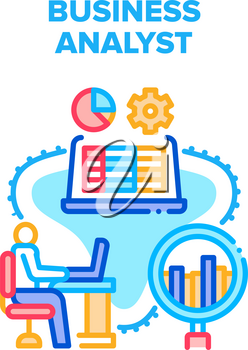 Business Analyst Vector Icon Concept. Business Analyst Monitoring And Analyzing Price On Trade Market, Researching Infographic Working Process. Businessman Occupation Color Illustration