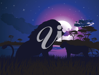 Colorful night scene, african landscape with silhouette of trees and lions.