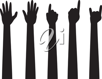 Cartoon human hands with various gestures, simple silhouette.
