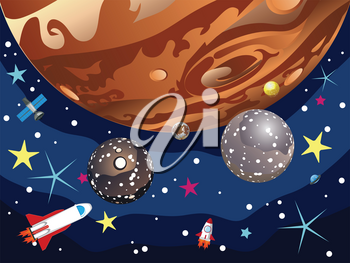 Cartoon planet Jupiter in the space with stars and shuttles.