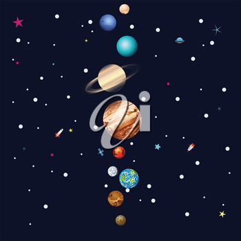 Cartoon parade of colorful planets outer space background.