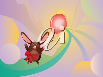 Cute happy chocolate bunny with red balloon illustration.