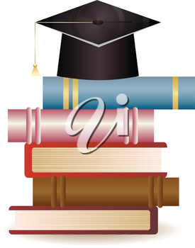 Stack of books and graduation hat on white background.