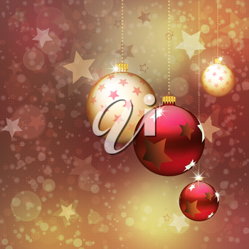 Bright Christmas background with gold and red balls.