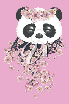Cute cartoon panda bear with blooming sakura, kawaii animal design.