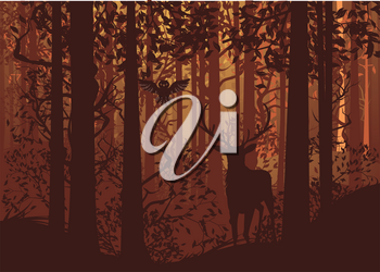 Deciduous autumn forest landscape with silhouettes of trees, deer and grass.