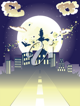 Halloween background with witch on a broomstick silhouette flying to the city.