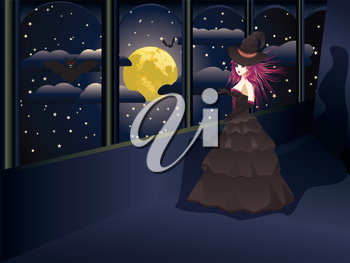 Dark witch in long black dress on balcony, night sky with full moon.