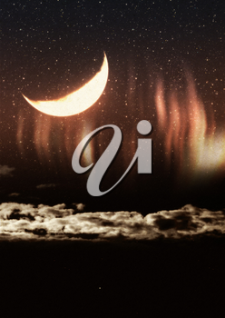 Textured grunge background with clouds, crescent moon and starfield.