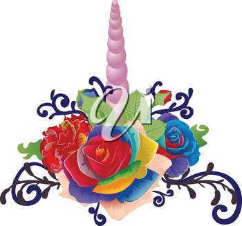 Fantasy unicorn horn decorated with rainbow roses and floral.