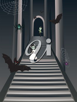 Stylish fashion cartoon zombie girl in white dress on old gothic stairs.