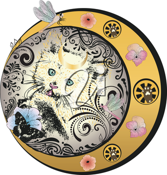 White kitten with petunia flowers butterfly and dragonflies, vintage floral frame.