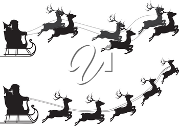 Cartoon Santa Claus silhouette riding a sleigh with stylized deers.