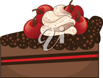 Tasty piece of chocolate cake with cream and cherries.
