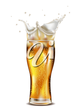 Glass of light beer with splashing foam on white background.