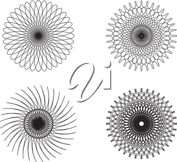 Set of spirograph elements for design on a white background
