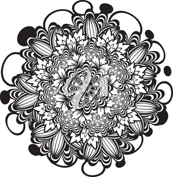 Round flower ornament in black and white, zentangle style.