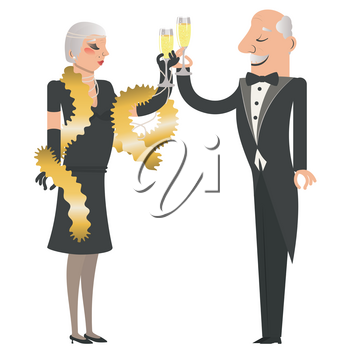 Cartoon couple wears vintage fashion clothes with glass of champagne illustration.
