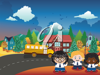 Back to school illustration with happy kids and rural school building.