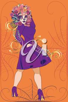 Fantasy witch woman with sugar skull makeup and flowers in vintage purple dress.