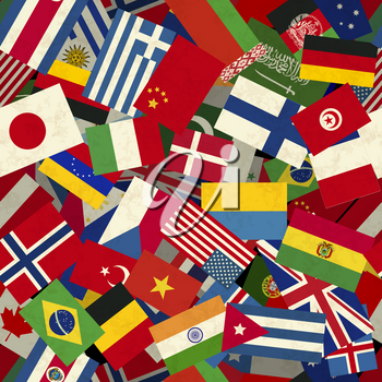 A lot of different countries flags seamless pattern